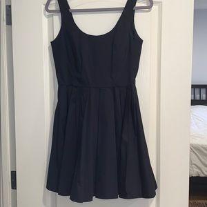 Pleaded Navy Dress